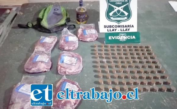 Carabineros de la Subcomisaría de Llay Llay recuperó un total de $100.000 en monedas, siete kilos de carne y una botella de pisco en poder del antisocial.