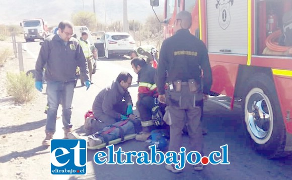 El accidente ocurrió alrededor de las 10:30 horas de la mañana de ayer lunes en el sector de Tabolango en Santa María. (Fotografías: Emergencias Santa María).