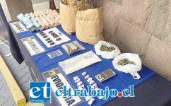Personal de la Brigada Antinarcóticos de la Policía de Investigaciones de Los Andes incautó las drogas y el dinero en efectivo en la Ruta 5 Norte de la comuna de Llay Llay.