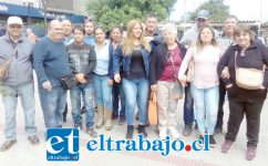 Los trabajadores de parquímetros una vez terminada la sesión del concejo municipal.
