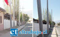 La misma arteria hoy se ve colapsada por la instalación de postes del tendido eléctrico.