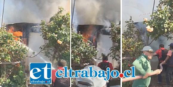 El fuego consumió en pocos minutos las viviendas, debiendo concurrir cuatro compañías de Bomberos de San Felipe, más el cuerpo de Bomberos de Putaendo. (Foto Putaendo Informa).