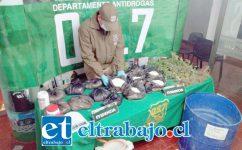 Personal del OS7 de Carabineros incautó más de 14 kilos de pasta base de cocaína y elementos químicos desde una vivienda ubicada en la población Luis Gajardo Guerrero de San Felipe, el pasado mes de junio de 2018.