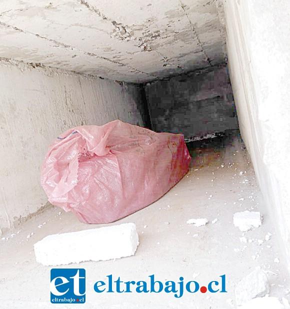 MACABRO FINAL.- Aquí vemos el saco papero en donde supuestamente el panteonero tiene a una guagua muerta, la sacó de un nicho que la administradora vendió a una familia.