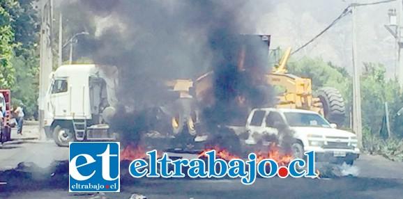 Cortes en la ruta Troncal de Panquehue y barricadas encendidas durante las últimas jornadas de movilizaciones.
