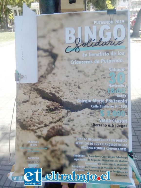 Este es el afiche de promoción del bingo que se realizará sí o sí este sábado 30 de noviembre.