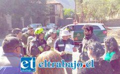 Los organismos de emergencia se constituyeron durante la mañana de ayer miércoles en el sector Las Compuertas de Catemu.