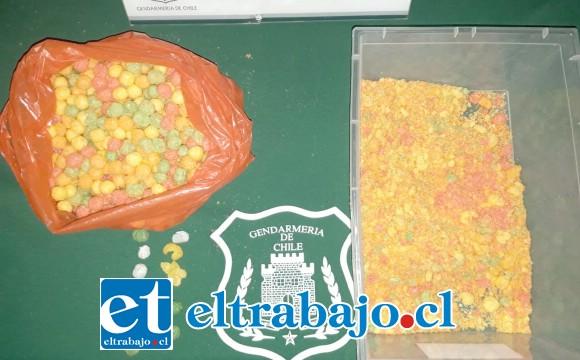 Gendarmes lograron detectar que al interior de los populares chis pop se escondían dosis de marihuana.
