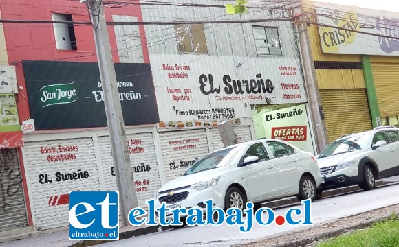 La distribuidora 'El Sureño' se ubica en la avenida Chacabuco en la comuna de San Felipe.