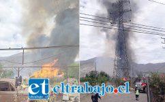 Las llamas alcanzaron los cables de alta tensión que proveen electricidad a las provincias de San Felipe y Los Andes.
