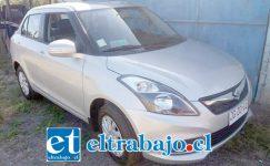 El vehículo marca Suzuki fue recuperado este lunes en la ruta que conduce hacia la comuna de Santa María.
