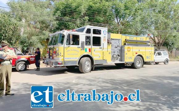 La emergencia requirió la presencia de la Unidad de Materiales Peligrosos de Bomberos de Los Andes.