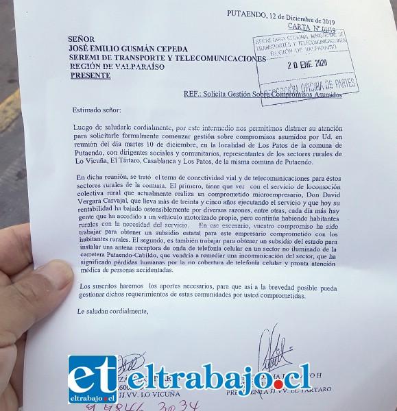 Este es el documento que entregó el Core Stevenson Velasco en la Seremi de Transporte y Telecomunicaciones de Valparaíso.