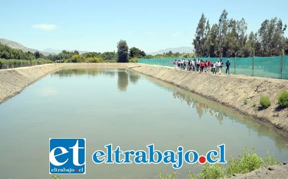 ENORME OBRA.- Este tranque que cuenta con una capacidad de 5.000 metros cúbicos, es llenado en dos días y medio por el Municipio que trata 2.000 metros cúbicos de aguas grises por día.