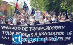 El Sindicato de Trabajadores y Trabajadoras a Honorarios de la I. Municipalidad de San Felipe, se adhirió a la huelga general feminista convocada para los días 8 y 9 de marzo, con motivo de la conmemoración del Día Internacional de la Mujer Trabajadora. (Archivo)