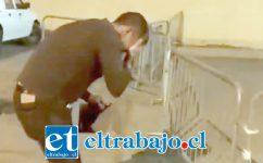 AGREDIDO.- Un video capta cómo el abogado sanfelipeño queda afectado por el gas pimienta.