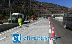 En el caso de la provincia de San Felipe, el punto de fiscalización se instaló en plena Ruta 5 Norte, a la altura del sector Las Chilcas en la comuna de Llay Llay.