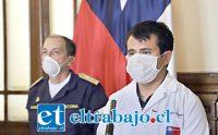 Francisco Álvarez, Seremi de Salud de la Quinta Región, en su cuenta diaria junto al jefe de Defensa Yerko Marcic.