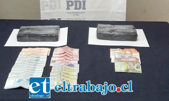 Más de dos kilos de clorhidrato de cocaína fueron decomisados en el procedimiento, droga avaluada en una suma cercana a los 50 millones de pesos.