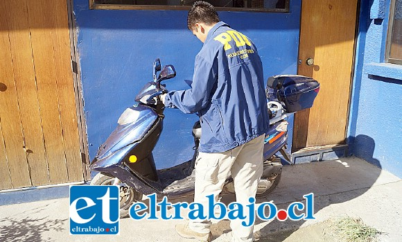 Detectives de la Brigada de Robos de la PDI de Los Andes (Biro) lograron la recuperación de una motocicleta avaluada en 800 mil pesos que había sido sustraída el pasado 29 de enero desde la avenida Yungay en la ciudad de San Felipe
