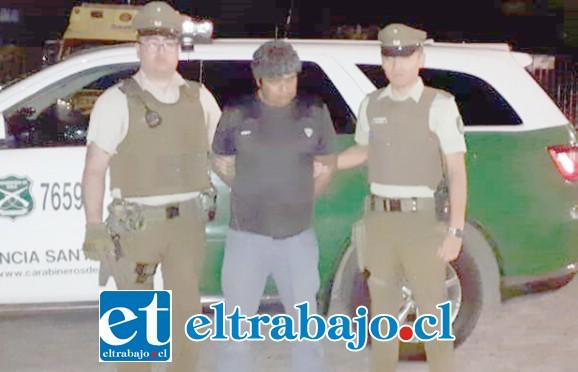 El imputado fue detenido por Carabineros de la Tenencia de Santa María la tarde noche de este martes.