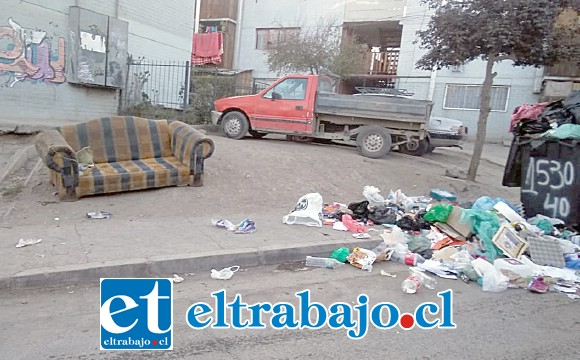 La imagen es contundente. Abundante basura esparcida en el suelo, además de un sofá abandonado dan un aspecto deprimente al sector.