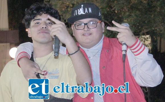 DUPLA RAPERA.- Ellos son los chicos de Peliskrr, exponentes locales del mejor Rap del Valle de Aconcagua.