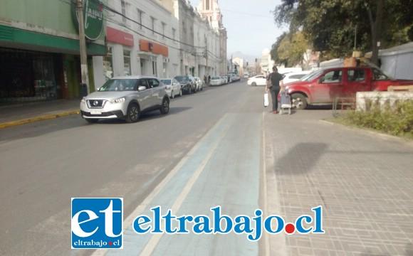 Ciclo vía de calle Prat, por donde pasan 450 ciclistas diarios según medición realizada por la Municipalidad de San Felipe.