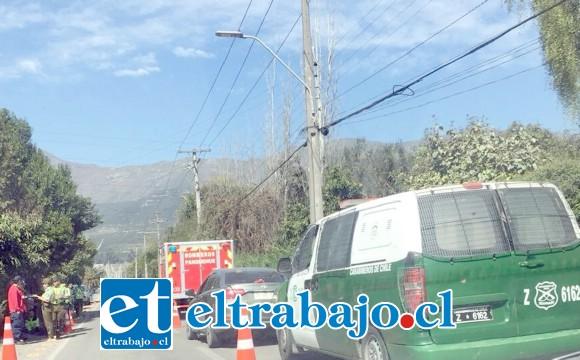 El accidente de tránsito ocurrió la tarde de ayer martes en la ruta Troncal de Panquehue. (Fotografía Referencial).