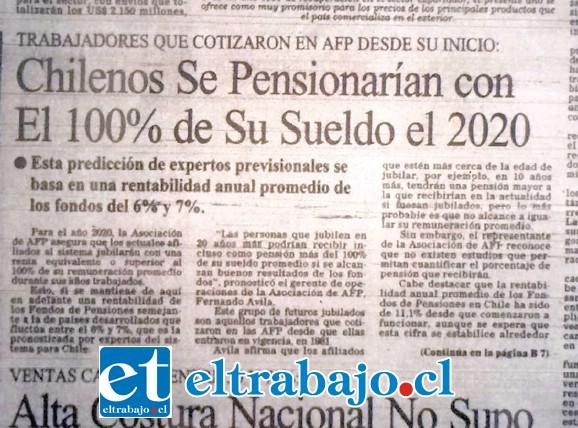 Titular de una nota en El Mercurio, donde dice que los chilenos se van a pensionar con el 100% de su sueldo.