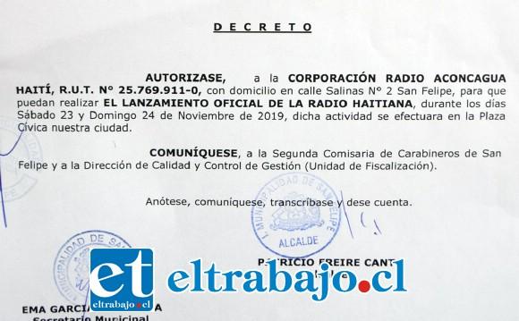 LANZAMIENTO OFICIAL.- Este documento faculta a la comunidad haitiana para que transmitan vía streaming en la página https://aconcaguahaiti.cl/.
