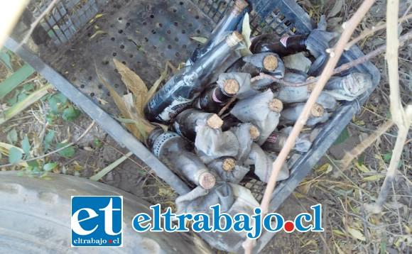 Un total de 15 bombas molotov fueron encontradas por la policía uniformada.