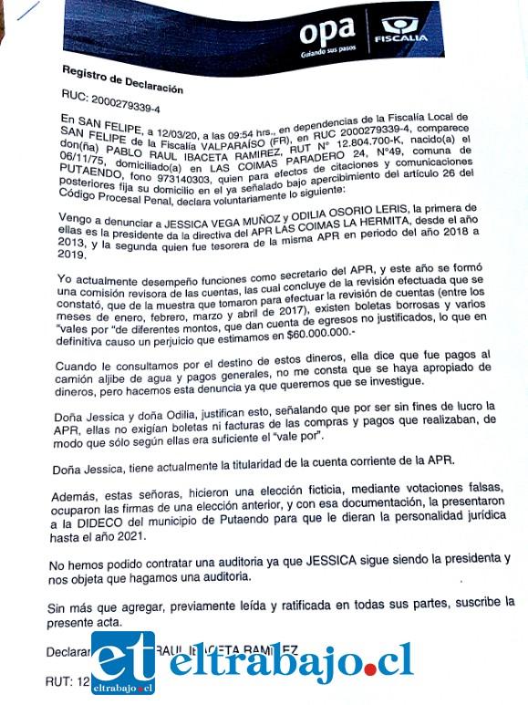 Copia de la denuncia estampada en fiscalía de San Felipe.