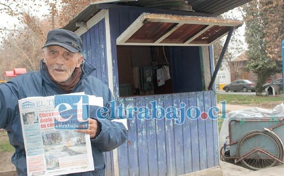 ¡MUCHAS GRACIAS!- Aquí tenemos a nuestro insigne suplementero sanfelipeño, quien por 46 años colaboró con Diario El Trabajo y sirvió a miles de vecinos en nuestra comuna.