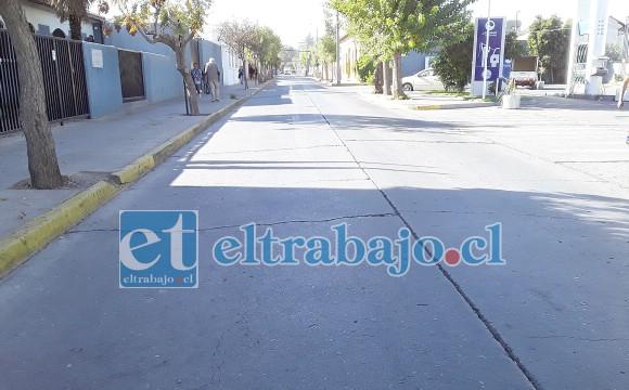 Así lucía calle Freire ayer en la mañana, arteria trascendental para el transporte de pasajeros por la aplicación del plan maestro de tránsito.