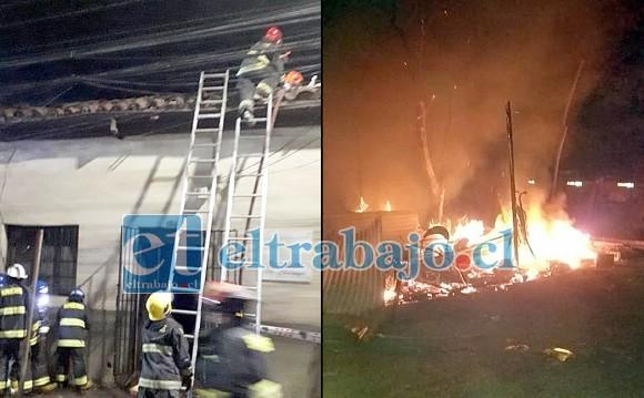 Bomberos trabajando en el incendio en calle Navarro de San Felipe. A la derecha, en tanto, la vivienda de material ligero que resultó totalmente destruida por el fuego en La Troya.