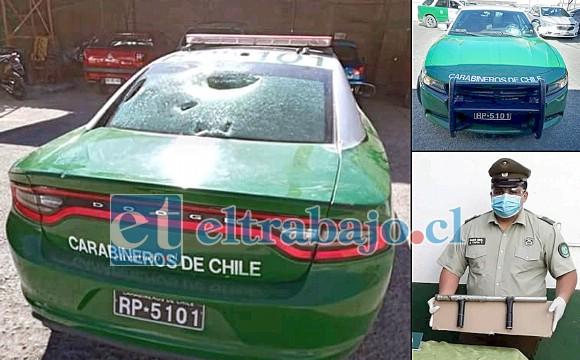 En la imagen se puede apreciar los daños causado en el parabrisas y luneta del radio patrullas de Llay Llay, además de la escopeta hechiza utilizada por los delincuentes.