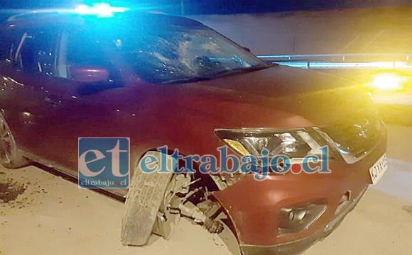 En este vehículo se movilizaban los dos  heridos según informó Carabineros.