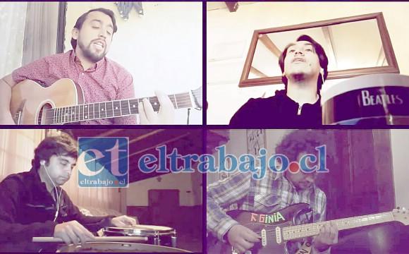 THE BEATLES DE ACONCAGUA.- Aquí tenemos a Ismael Acevedo (bajo, Paul McCartney), Juan Pablo Álvarez (guitarra, John Lennon), Hugo Arancibia (batería, Ringo Star) y Christian Lazo (guitarra, George Harrison).