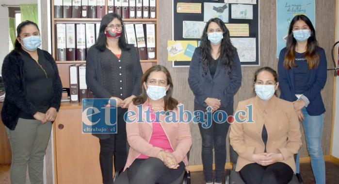 El equipo de profesionales que integran la Oficina de Protección de Derechos (OPD) de la Municipalidad de Santa María.