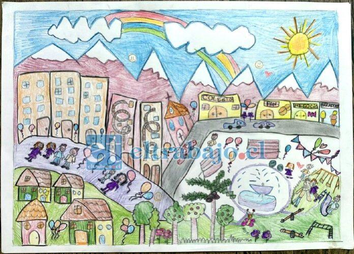 Este fue uno de los dibujos premiados en el concurso 'Como imagino mi comuna en tiempos de Pandemia', que se realizó como parte de las actividades del 5° Aniversario OPD.