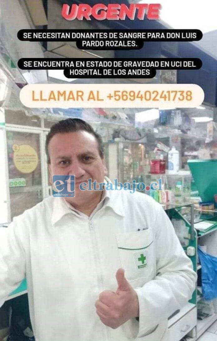 Luis Pardo Rozales trabaja desde hace años en la Farmacia Cruz Verde de San Felipe.