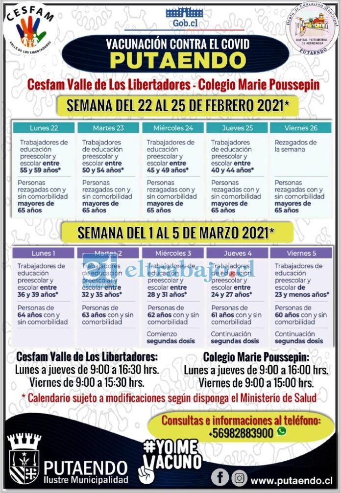 Este es el calendario de vacunación para la comuna de Putaendo.