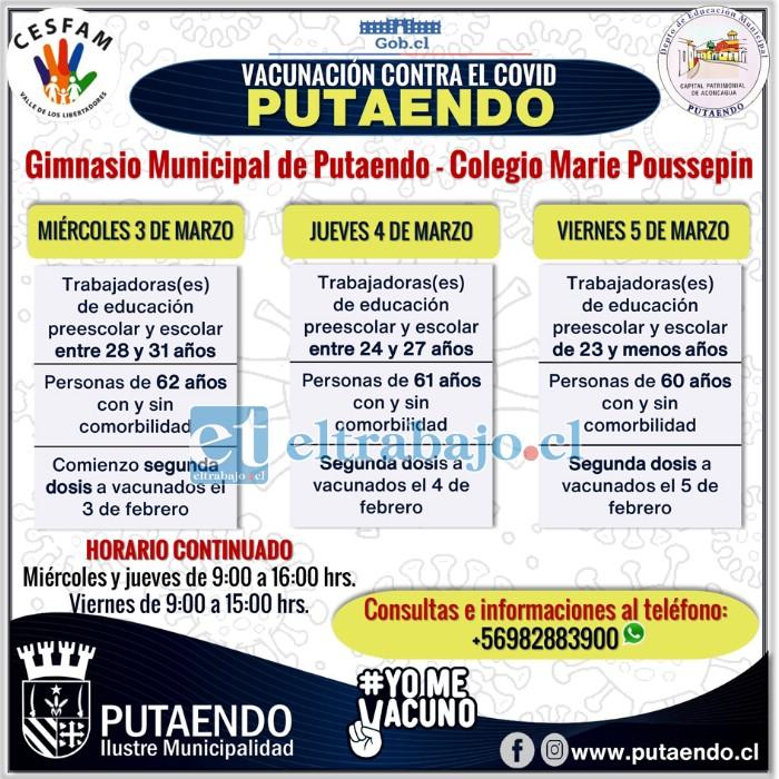 Este es el calendario de vacunación para esta semana en el nuevo centro de vacunación habilitado en Gimnasio Municipal de Putaendo.