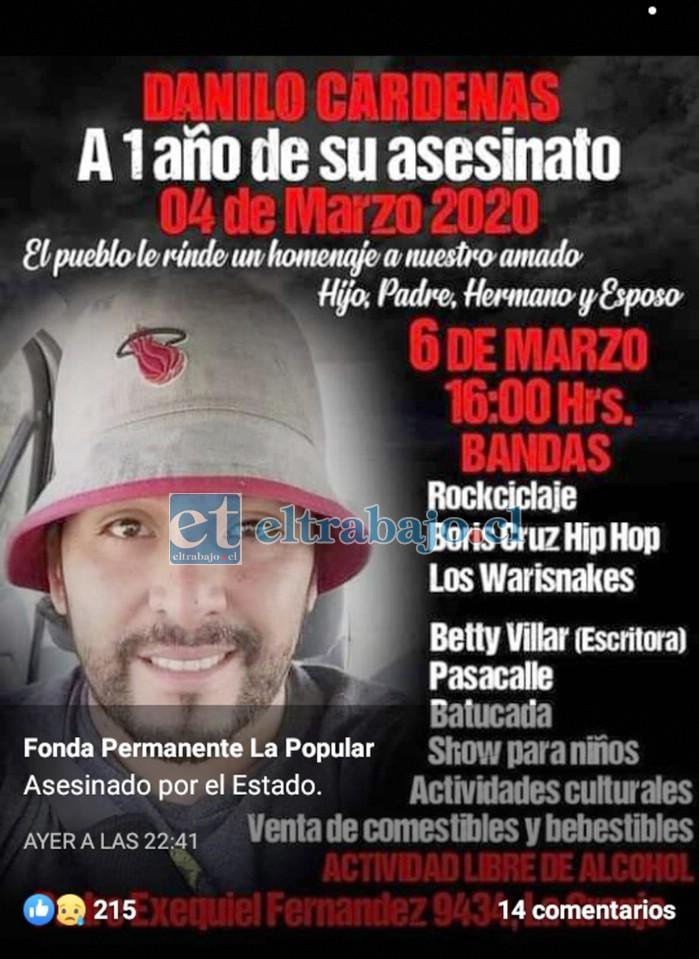Este sábado 6 de marzo se estará realizando una actividad musical para conmemorar un año de la muerte de Danilo Cárdenas.