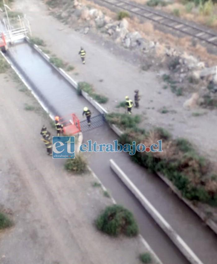 Personal de Bomberos de San Felipe trabajando en el lugar, buscando a la persona que finalmente fue encontrada fallecida. (Foto redes sociales)