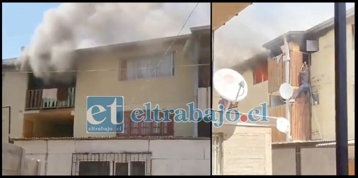 SEIS APARTAMENTOS.- Momentos de grandes apuros vivieron los vecinos Villa Departamental la tarde de este sábado. No resultaron personas heridas. (Foto Internet)